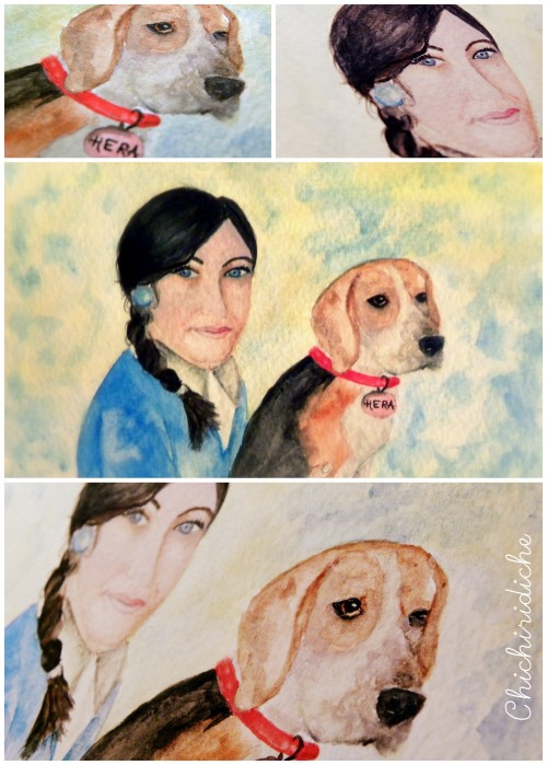 girl and beagle illustration